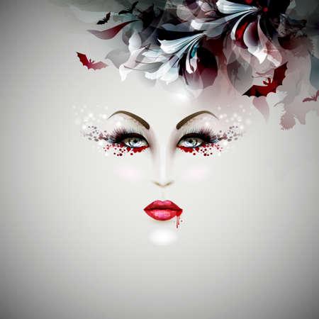 maquillaje fantasia: Halloween vampiro dama
