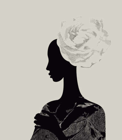 young leaves: Beautiful women with abstract flower hair-do