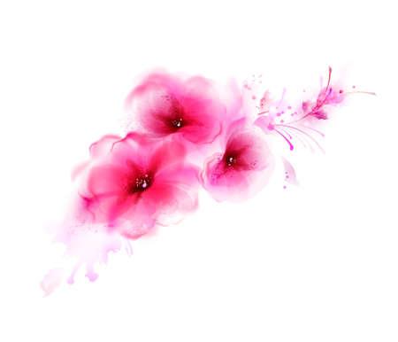 Résumé bouquet avec des fleurs roses et des éléments de conception Banque d'images - 46966873