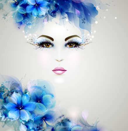 young woman face: Beautiful abstract women with abstract design floral elements Illustration