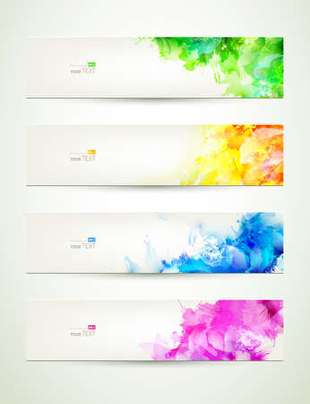 blots: set of four banners,  headers with varicolored blots