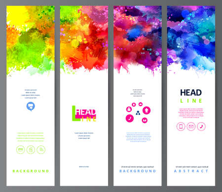 set of four banners, abstract headers with varicolored blots