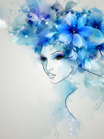 Beautiful abstract women with abstract design floral elements Stock Illustratie