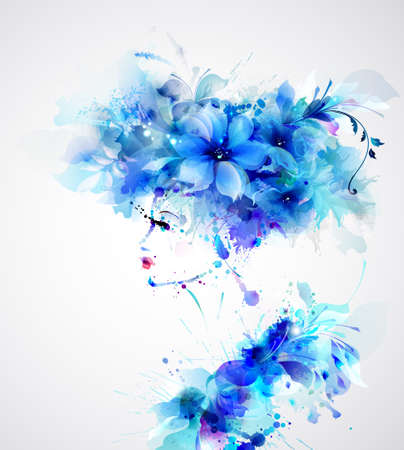 Beautiful abstract women with abstract design floral elements like hat Stock Illustratie