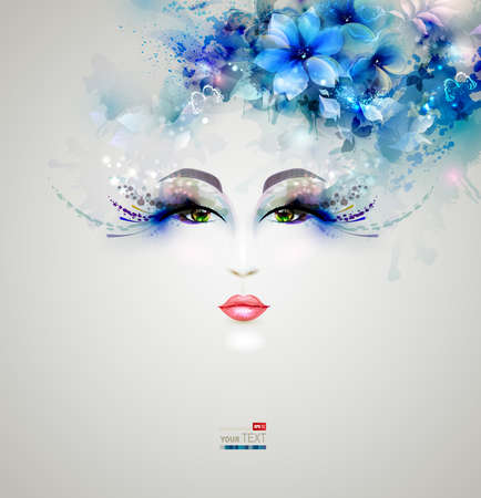 blue eye: Beautiful abstract women with abstract design floral elements Illustration