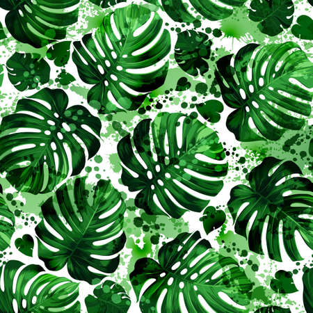Seamless pattern of leaves monstera with blots Иллюстрация