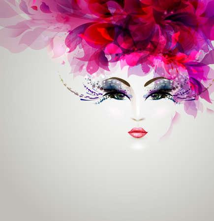 Belles femmes abstraites avec des éléments de conception lumineux