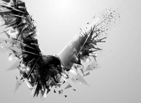 abstrakcja: Geometryczne abstrakcyjne czarny ptak. Nowoczesne trójkątne tworzą abstrakcyjne figury ekspresyjnej