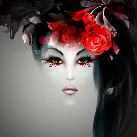 halloween lady image  of witch with red rose