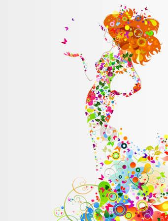 graficas: Composición decorativa de verano con la niña en el vestido Vectores