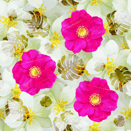 scuff: Vintage Seamless pattern of jasmine flowers and bright pink wild roses Illustration