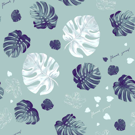 monstera: Seamless pattern of leaves monstera