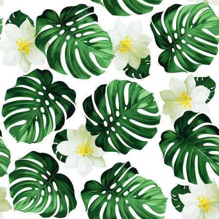 exotic flowers: Seamless pattern of leaves monstera and exotic flowers
