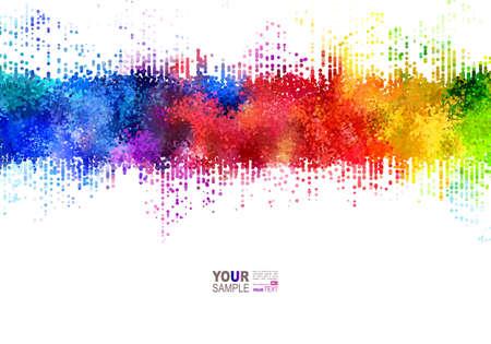明るい色の帯。虹の汚れ。水彩効果。