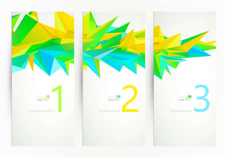 yellow green: Three banners. Abstract group of triangle elements for design Illustration