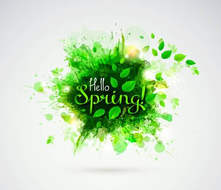 Bonjour Printemps! Saison bannière avec feuilles vertes fraîches.