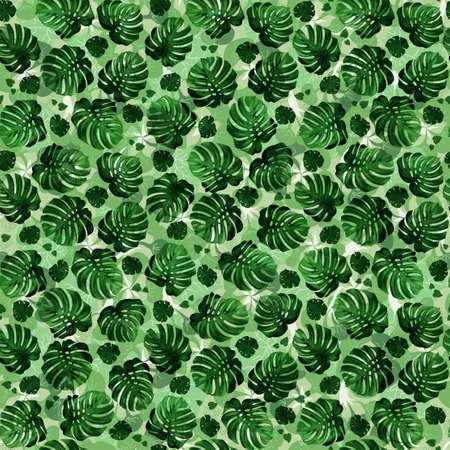 tera: Seamless pattern of leaves monstera