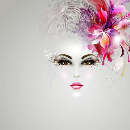 髪の装飾と芸術的なイメージで若い女性