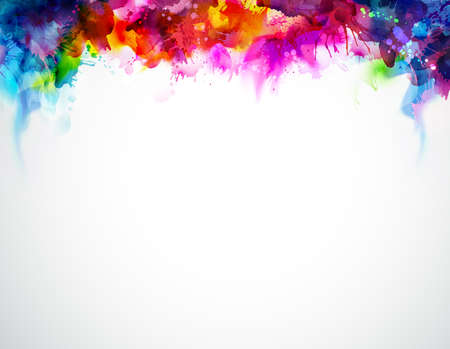 Bright abstract watercolor stains. Multicolor border. Rainbow multicolor background.