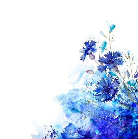 azure: White background with blue cornflowers and buds by abstract elements. Decorative abstraction blots.