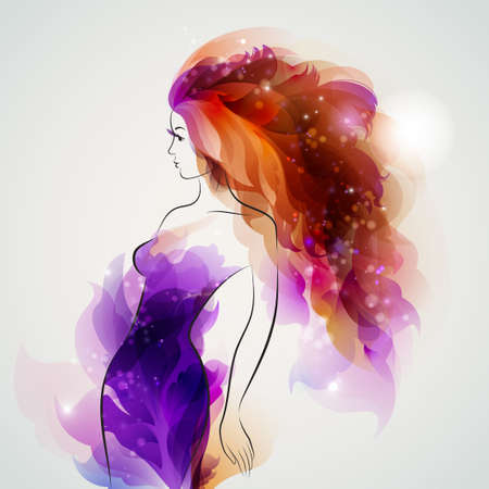abstract purple decorative composition with girl with red hair