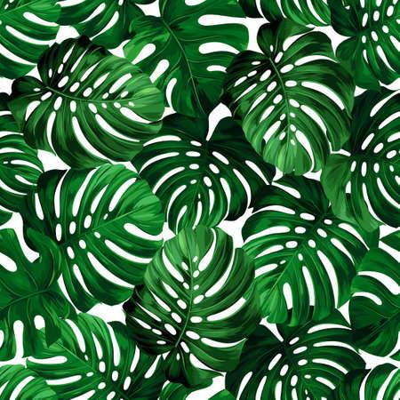 Naadloos patroon van grote bladeren monstera. Tropische ornament.