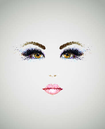 glamour makeup: beautiful young face with glamour makeup Illustration