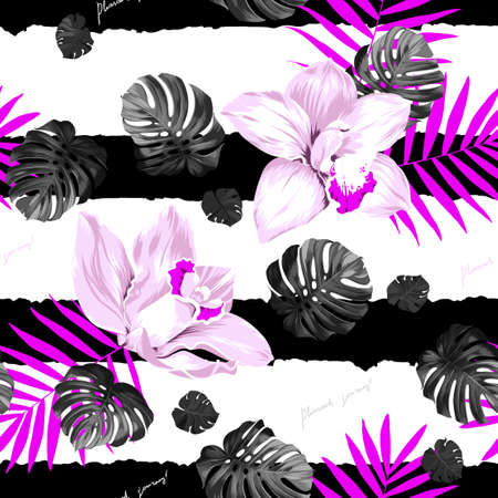 tera: Seamless pattern of leaves monstera and blooming orchids on the striped background