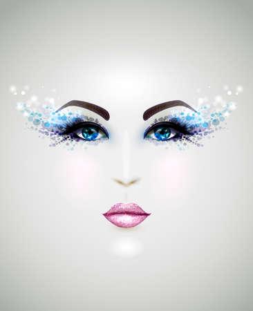 giovane e bella faccia con il trucco di glamour