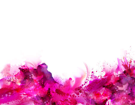 Abstract artistic Background forming by blots. Pink stains look like paint. Illustration