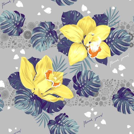 tera: Seamless pattern of leaves monstera and blooming orchids