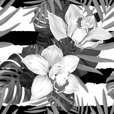 tera: Seamless pattern of leaves monstera, palm and blooming orchids on the striped background
