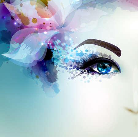 Piękne kobiety z abstrakcyjnych streszczenie kwiatowy element. Część twarzy.