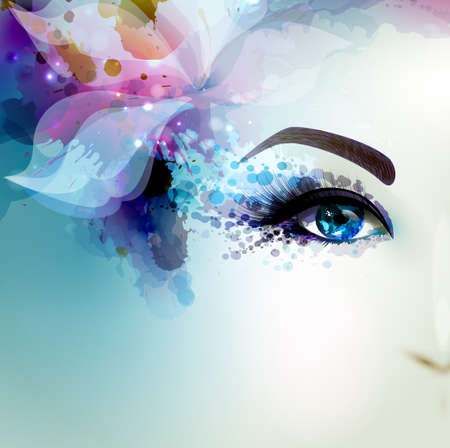 Beautiful abstract women with abstract  floral element. Part of face.