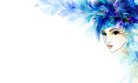 imagen: las mujeres abstractas hermosas con elementos de diseño abstracto