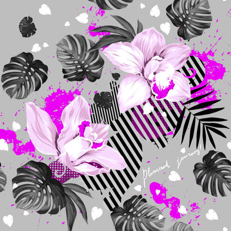 tera: light blooming orchids and  leaves monstera