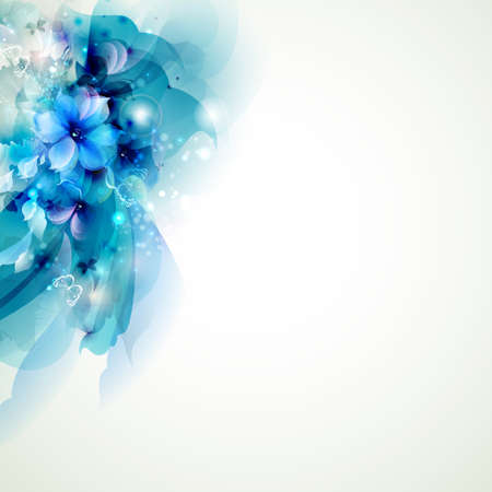 flower banner: blue composition with abstract flowers