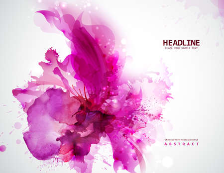 blots: Energetic pink abstract banner. Magenta stain formed by artistic blots.