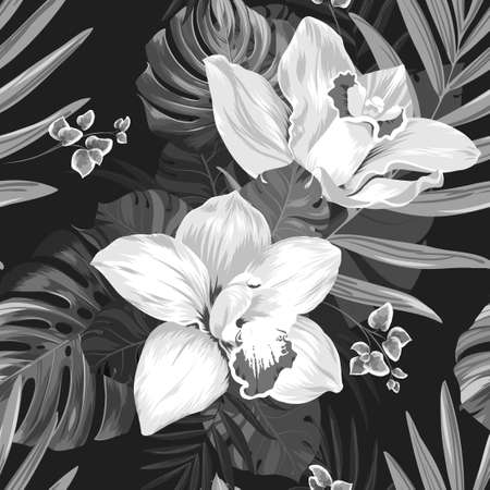 tera: Seamless pattern of leaves monstera and blooming orchids. Monochrome composition on the black background.