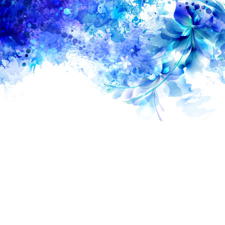 Abstract background with blue composition of watercolor blots and floral element. Illustration