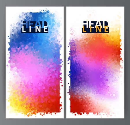 spot the difference: Bright colored circles. Rainbow stains. Set of two abstract banner.