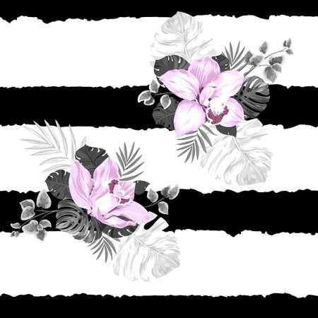 striped background: Seamless pattern of leaves monstera and blooming orchids on the striped background