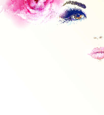 Beautiful abstract women with abstract pink rose Stock Illustratie