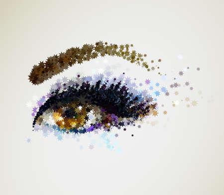 ojo femenino abstracto hermoso con compone Ilustración de vector