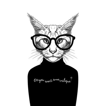 critique: Hand Drawn stylized portrait of cat look like critique, whose wearing glasses and a sweater.