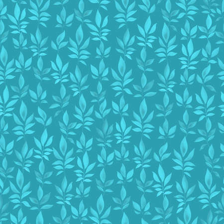 teal leaves seamless pattern