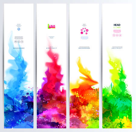 go up: Set of four banners, abstract headers with colored blots. Bright spots and blur go up.