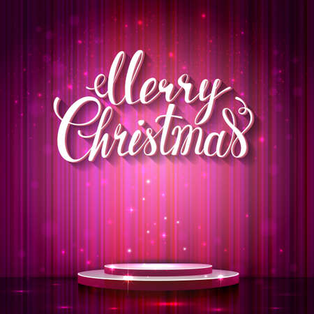 plinth: Holiday banner with place for text and image. Pink shine glimmering scene with plinth. Calligraphy inscription Merry Christmas. Illustration