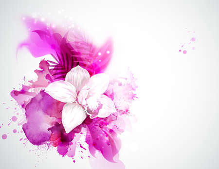 light blooming orchid and palm leaves on the pink abstract background Illustration