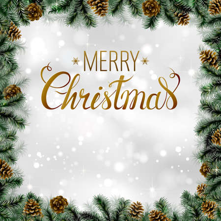 glimmered: Shiny Christmas background with pine cones and branches frame. Festive decorative holiday poster with place for text.
